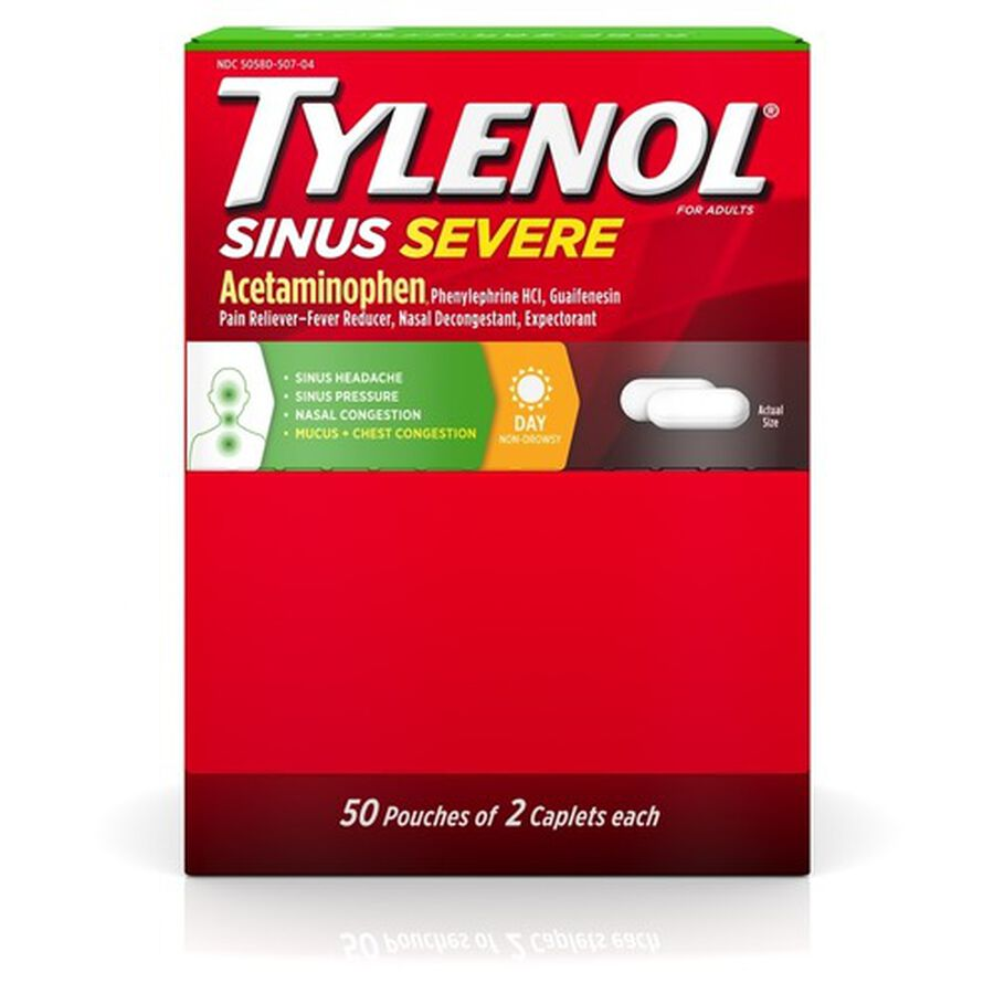Tylenol Sinus Severe Non-Drowsy Daytime Caplets, 50 Packs of 2 ct, , large image number 0