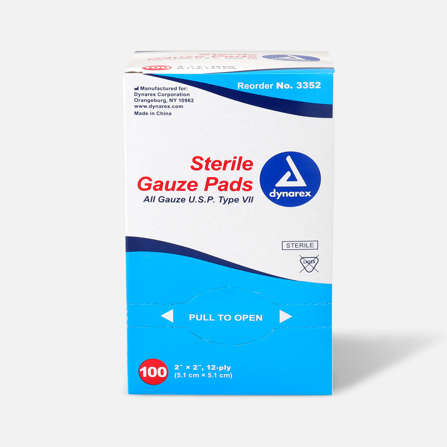 Dynarex Sterile Gauze Pads,12 ply - 100ct, , large image number 2