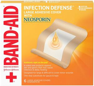 Band-Aid Infection Defense Large Adhesive Cover with Neosporin, 6 ct