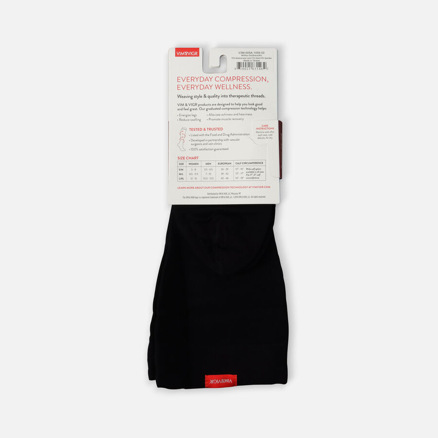 VIM & VIGR Moisture-Wick Nylon Socks, Solid Black, Wide Calf, 30-40 mmHg, , large image number 5