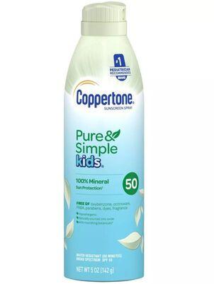 Coppertone Pure & Simple Kids Sunscreen Spray, SPF 50, 5 oz