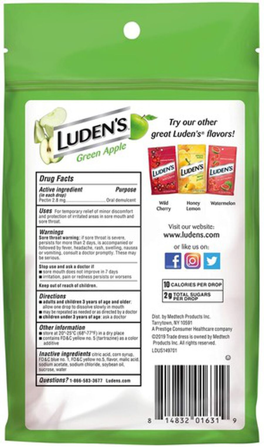 Luden's Green Apple Throat Drops, 25 ct., , large image number 1