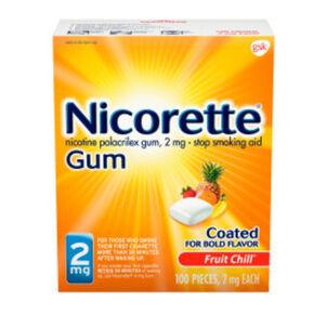 Nicorette Nicotine Gum, Fruit Chill, 2mg, 100 ct