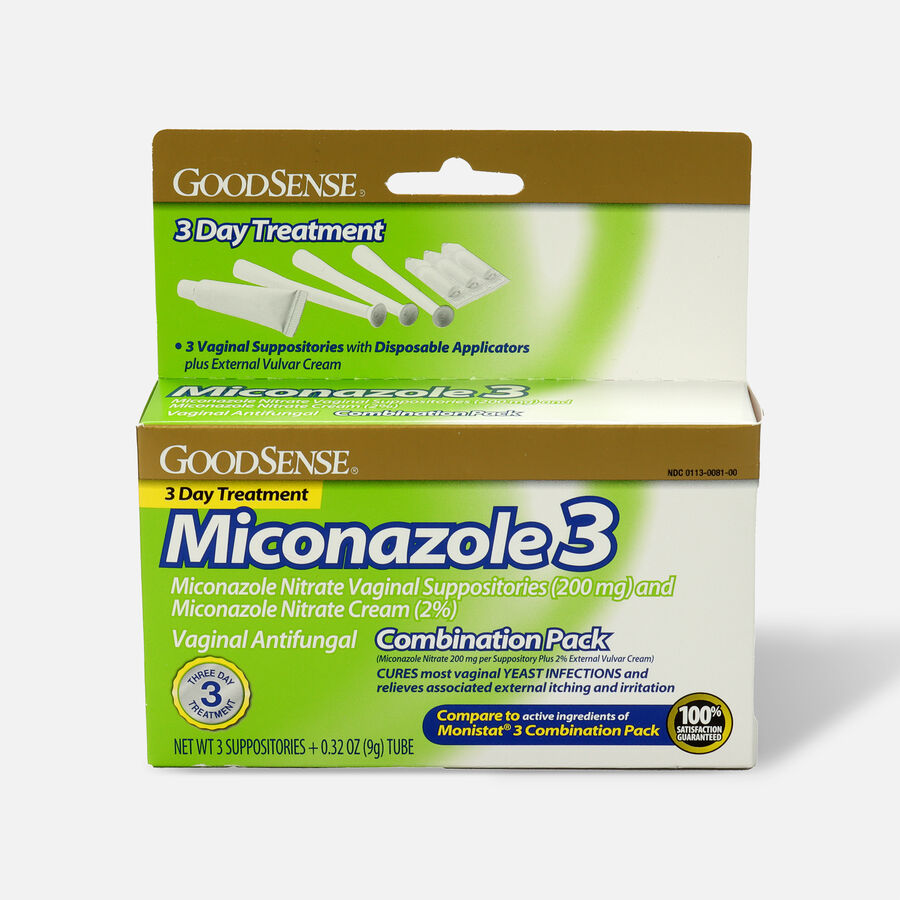 GoodSense® Miconazole 3 Combination Pack, Suppositories with Applicators and Cream, , large image number 0
