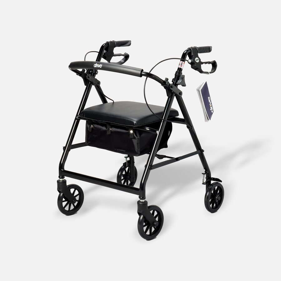 """Drive Aluminum Rollator with Fold Up and Removable Back Support, 6"""" Casters, Black, Black, large image number 0"""