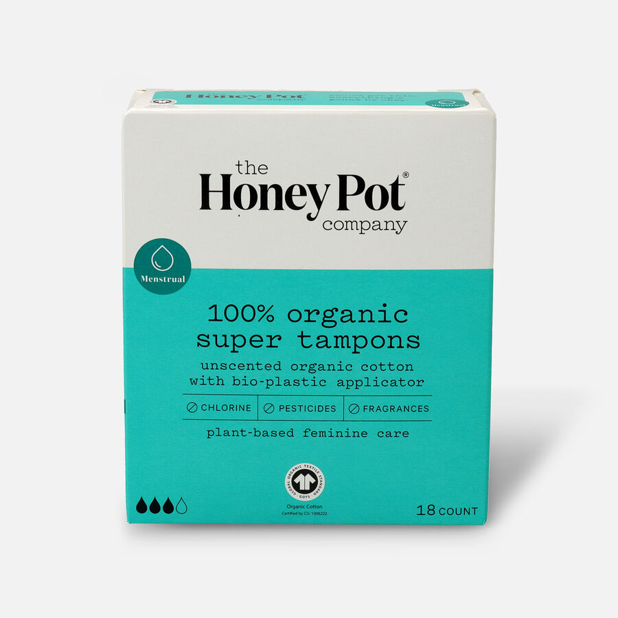 The Honey Pot Organic Tampons, 18ct, , large image number 0