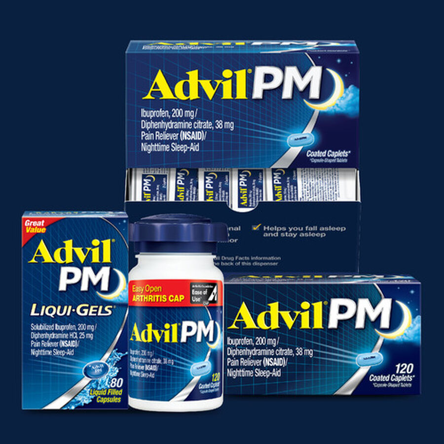 Advil Pain PM Reliever & Nighttime Sleep Aid Coated Caplets, 80 ct, , large image number 8