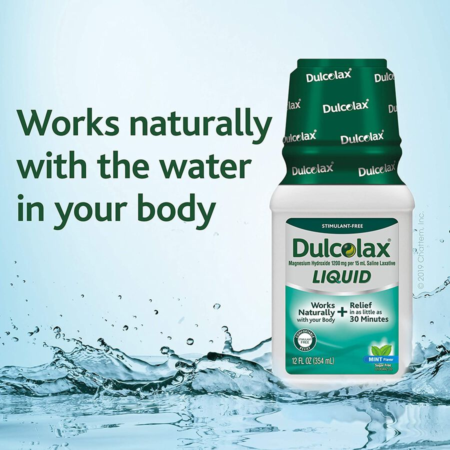 Dulcolax Liquid Laxative, Mint Flavored, 12 oz, , large image number 2