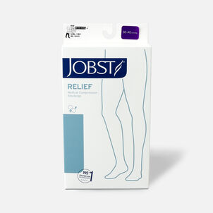 BSN Jobst Unisex Relief Knee-High Extra Firm Compression Stockings, Closed Toe, Medium, Beige