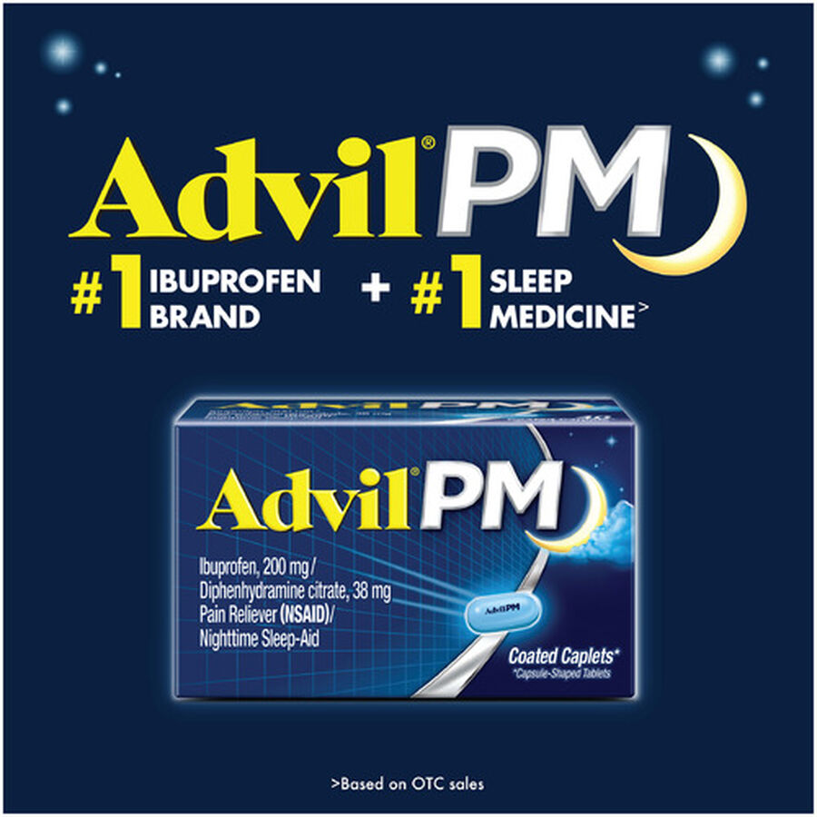 Advil Pain PM Reliever & Nighttime Sleep Aid Coated Caplets, 80 ct, , large image number 13