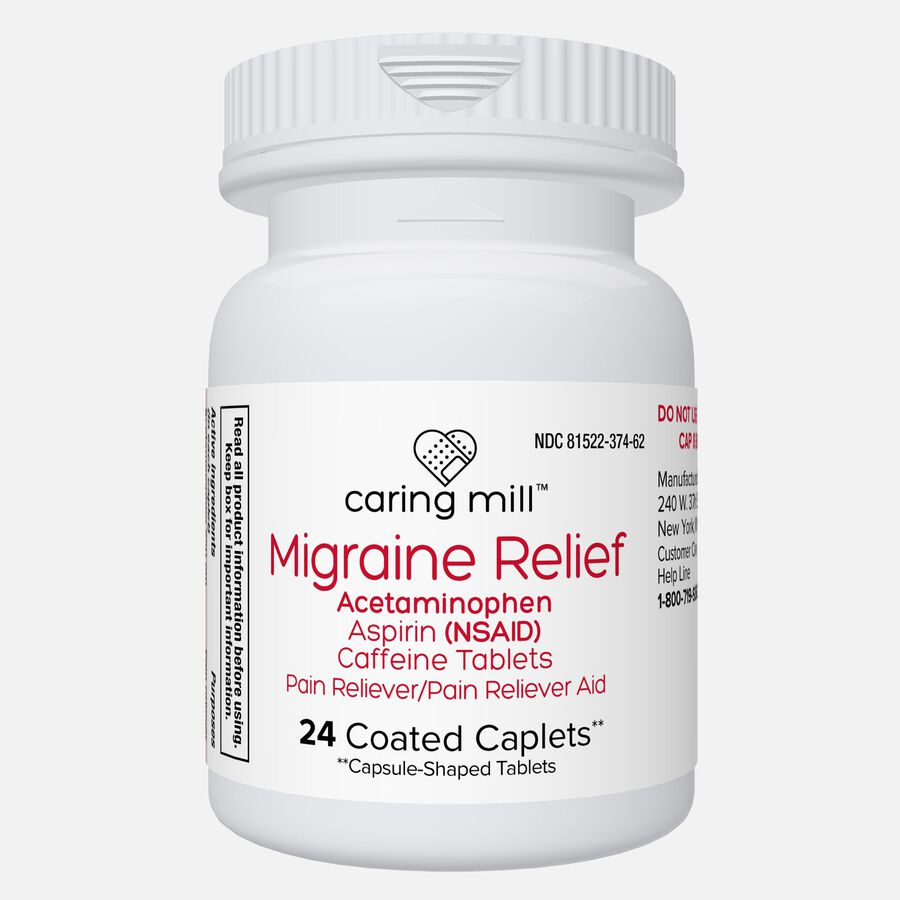 Caring Mill™ Migraine Relief Acetaminophen/Aspirin (NSAID) Caffeine Tablets, 24 Coated Caplets, , large image number 1