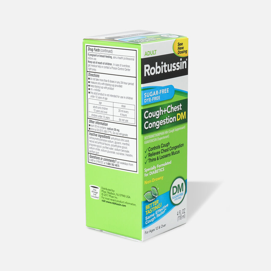 Robitussin Cough & Chest Congestion Relief DM, Sugar-Free, Dye-Free, Adult, 4 oz, , large image number 3