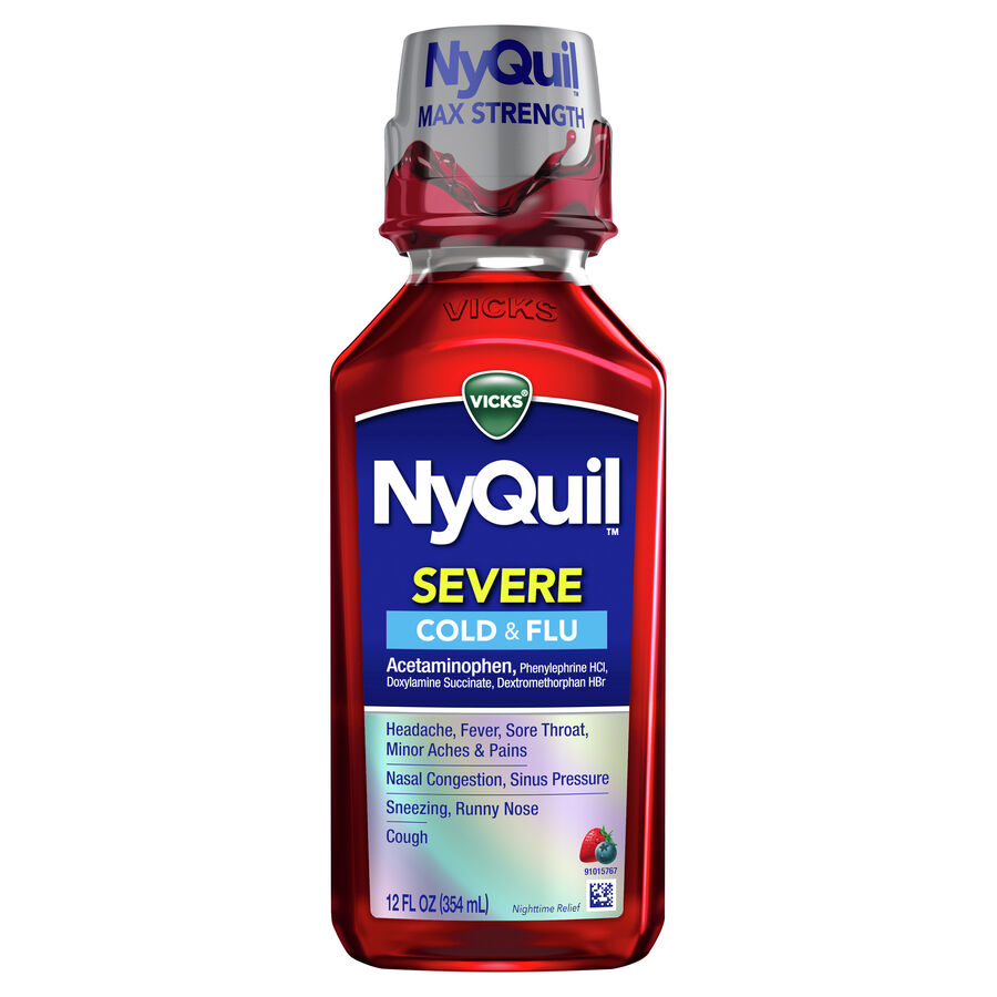 Vicks NyQuil Severe Cold and Flu Liquid, Berry, 12 oz, , large image number 0