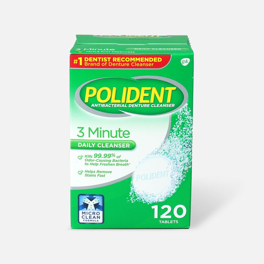 Polident 3 Minute Antibacterial Denture Cleanser Tablets - 120ct., , large image number 0