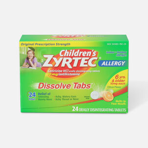 Children's Zyrtec 10mg Dissolve Tabs, Citrus Flavor, 24 ct