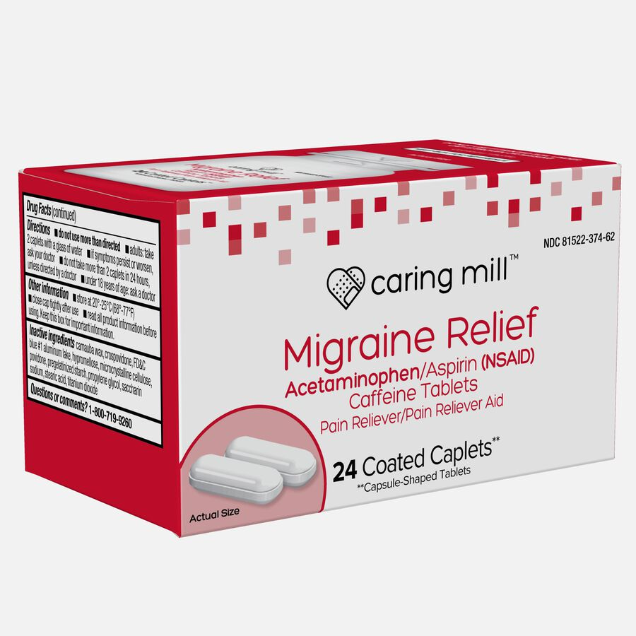 Caring Mill™ Migraine Relief Acetaminophen/Aspirin (NSAID) Caffeine Tablets, 24 Coated Caplets, , large image number 2