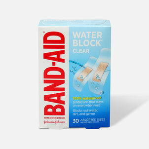Band-Aid Water Block Plus Waterproof Clear Adhesive Bandages for Minor Cuts and Scrapes, 30 ct