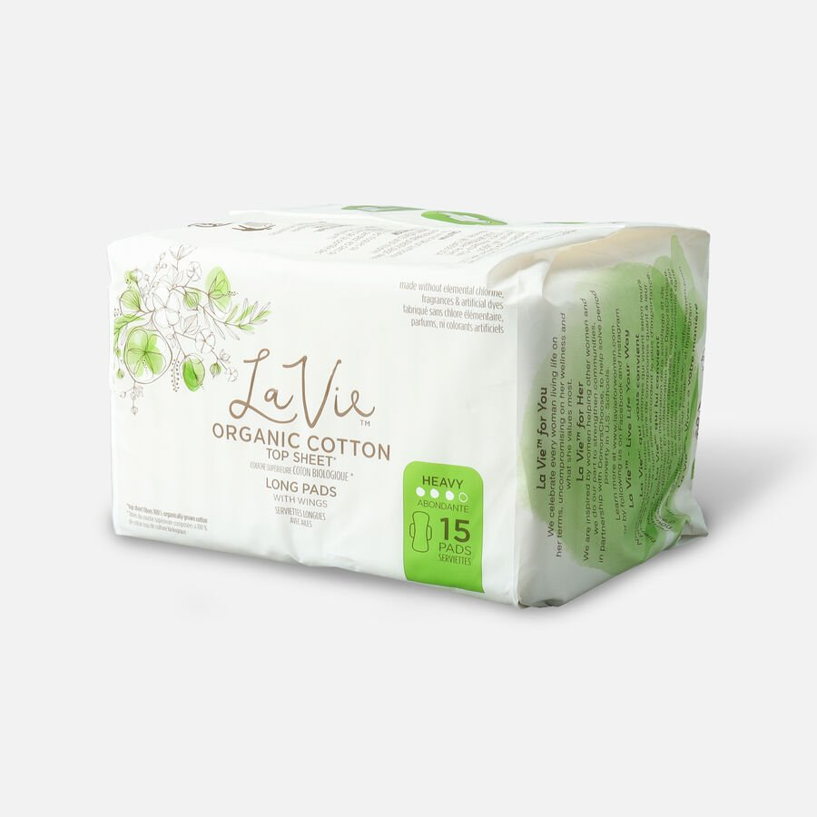 La Vie Organic Cotton Top Sheet Pads with Wings, Heavy Absorbency, Long, 15ct, , large image number 2