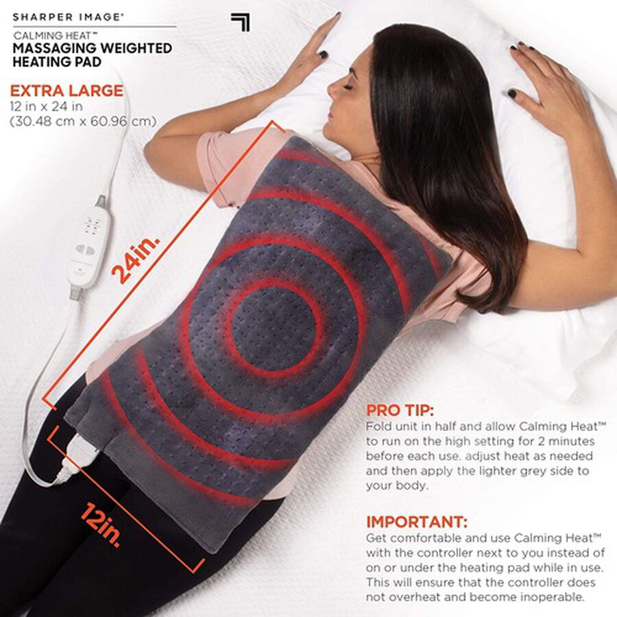 """Calming Heat Massaging Weighted Heating Pad, 12"""" x 24"""", 4 lbs, , large image number 3"""