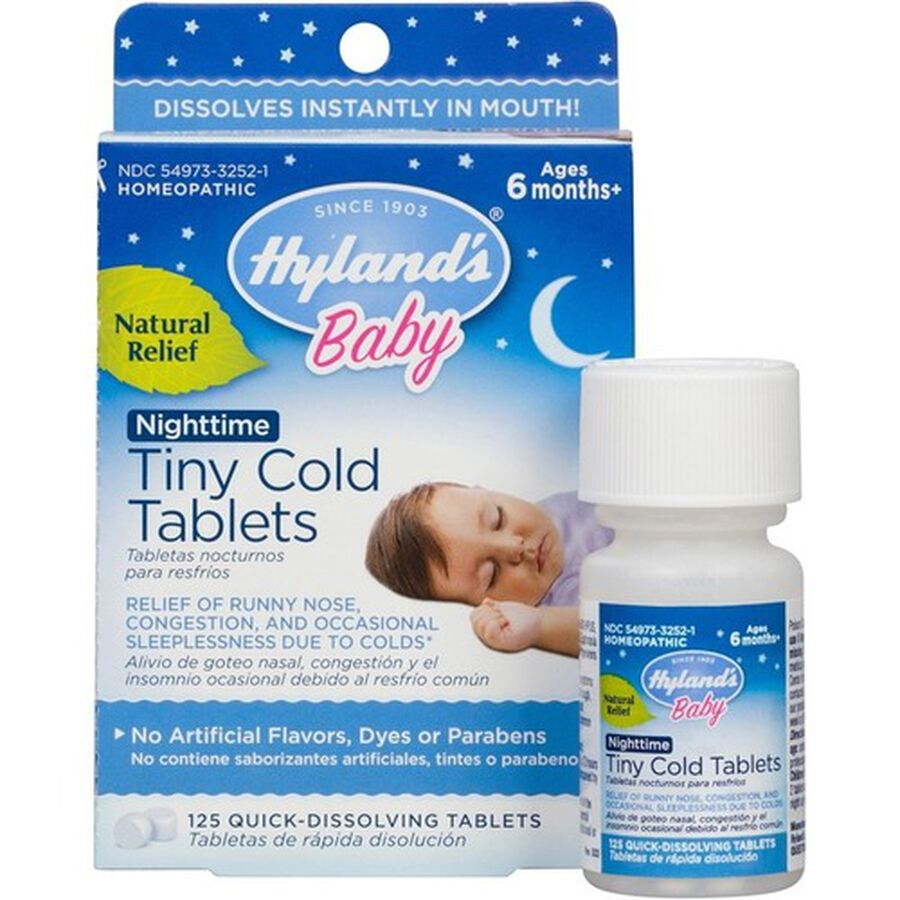 Hyland's Baby Nightime Tiny Cold Tablets, 125 ct, , large image number 1