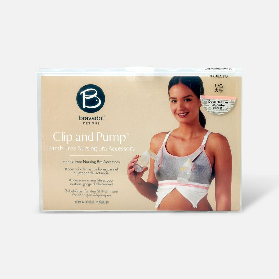 Clip and Pump Hands-Free Nursing Bra Accessory, Dove Heather, , large image number 0