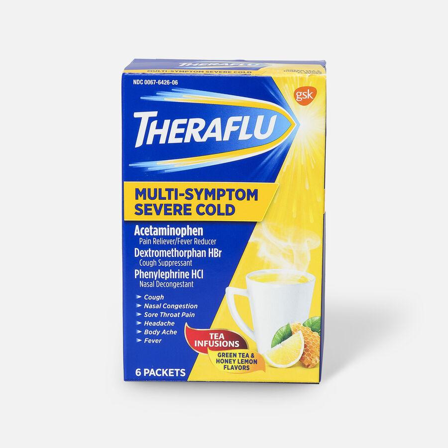 Theraflu Multi-Symptom Severe Cold Hot Liquid Powder Tea Infusions, Green Tea and Honey Lemon Flavors, 6 ct, , large image number 1