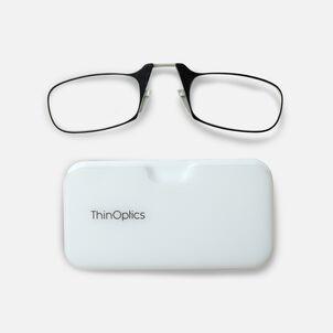 ThinOPTICS Reading Glasses on your Phone, Black Glasses, White Universal Pod Case