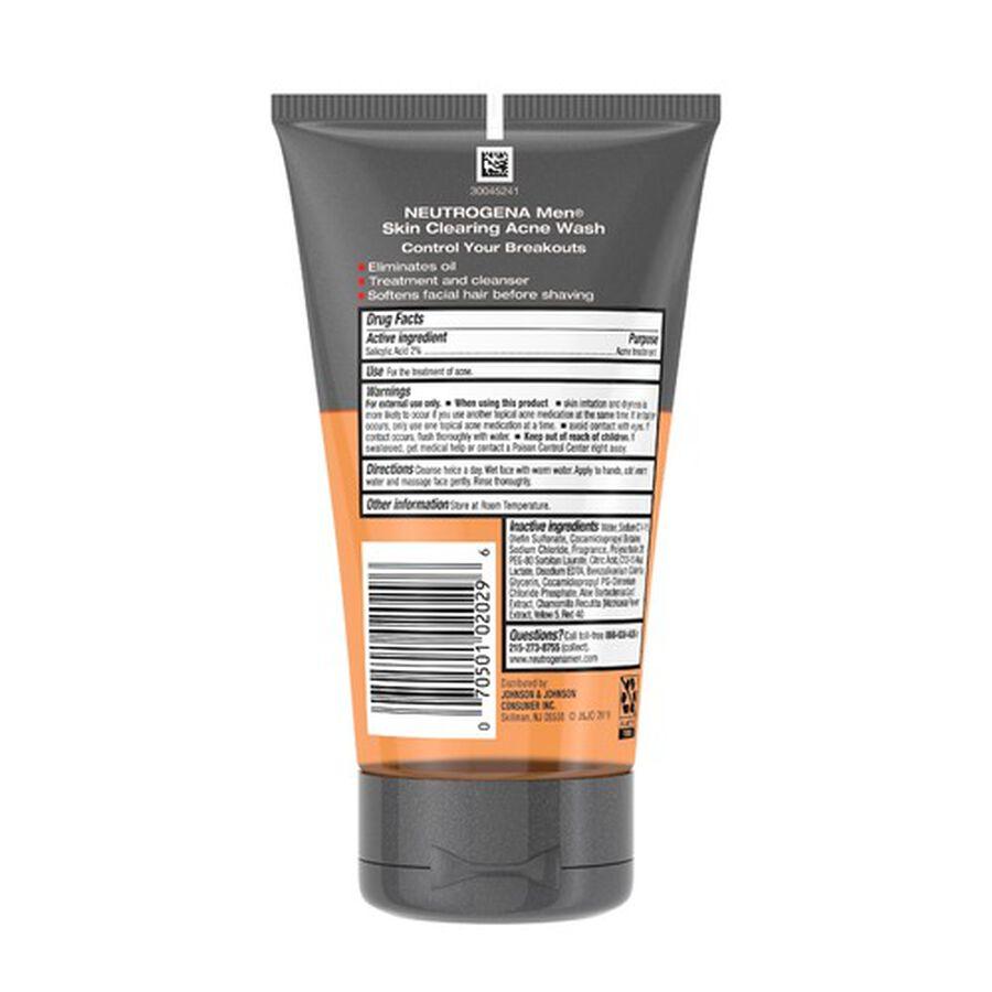 Neutrogena Men Skin Clearing Acne Wash, 5.1oz, , large image number 1