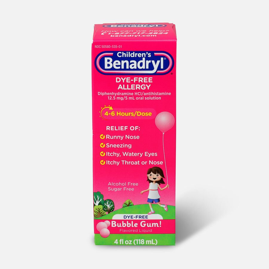Children's Benadryl Oral Solution, Bubble Gum Flavored, 4 fl oz, , large image number 0