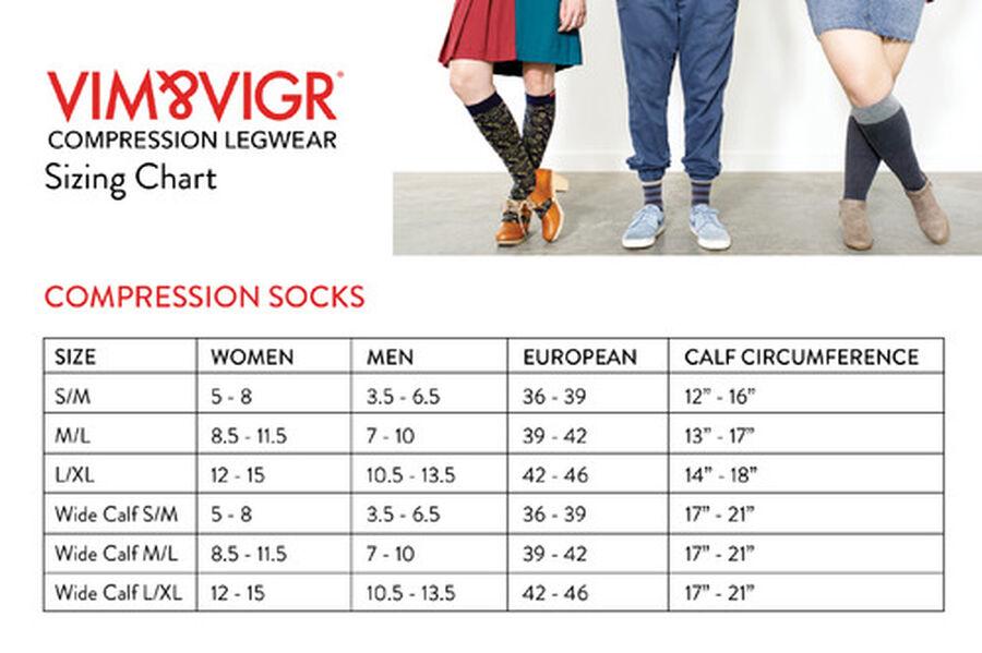 VIM & VIGR Moisture-Wick Nylon Compression Socks, Solid Black, Wide Calf, 30-40 mmHg, , large image number 12