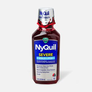 Vicks NyQuil Severe Cold and Flu Liquid, Berry, 12 oz