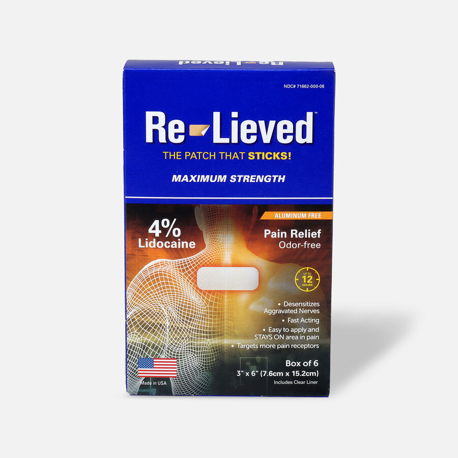 Re-Lieved 4% Lidocaine Pain Relief Patches, 6 ct, , large image number 0