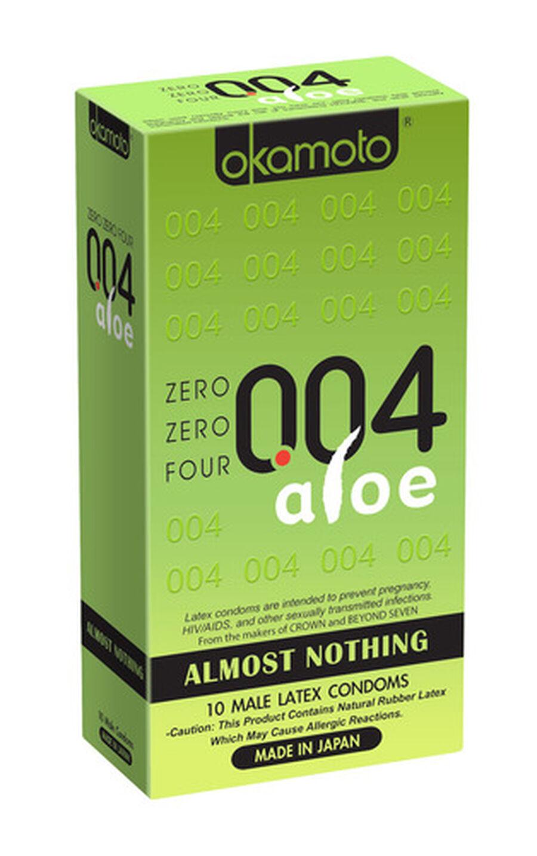 Okamoto .04 mm Zero Zero Four Aloe Condoms 10 ct, , large image number 1