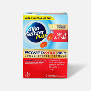 Alka-Seltzer Plus PowerMax Gels, Sinus & Cold, 24ct