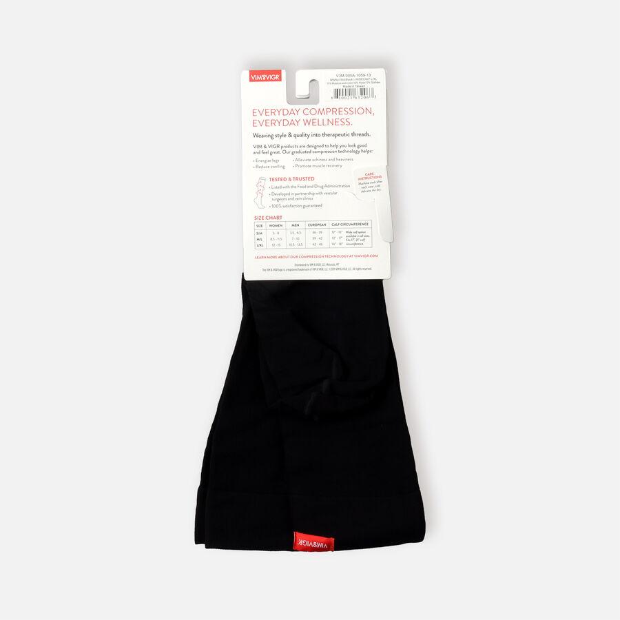 VIM & VIGR Moisture-Wick Nylon Socks, Solid Black, Wide Calf, 30-40 mmHg, , large image number 11