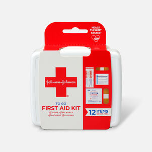 Johnson & Johnson First Aid To Go! Essential Emergency First Aid Travel Kit, 12 pieces