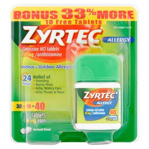 Zyrtec Adult Allergy Relief Tablets, 10mg