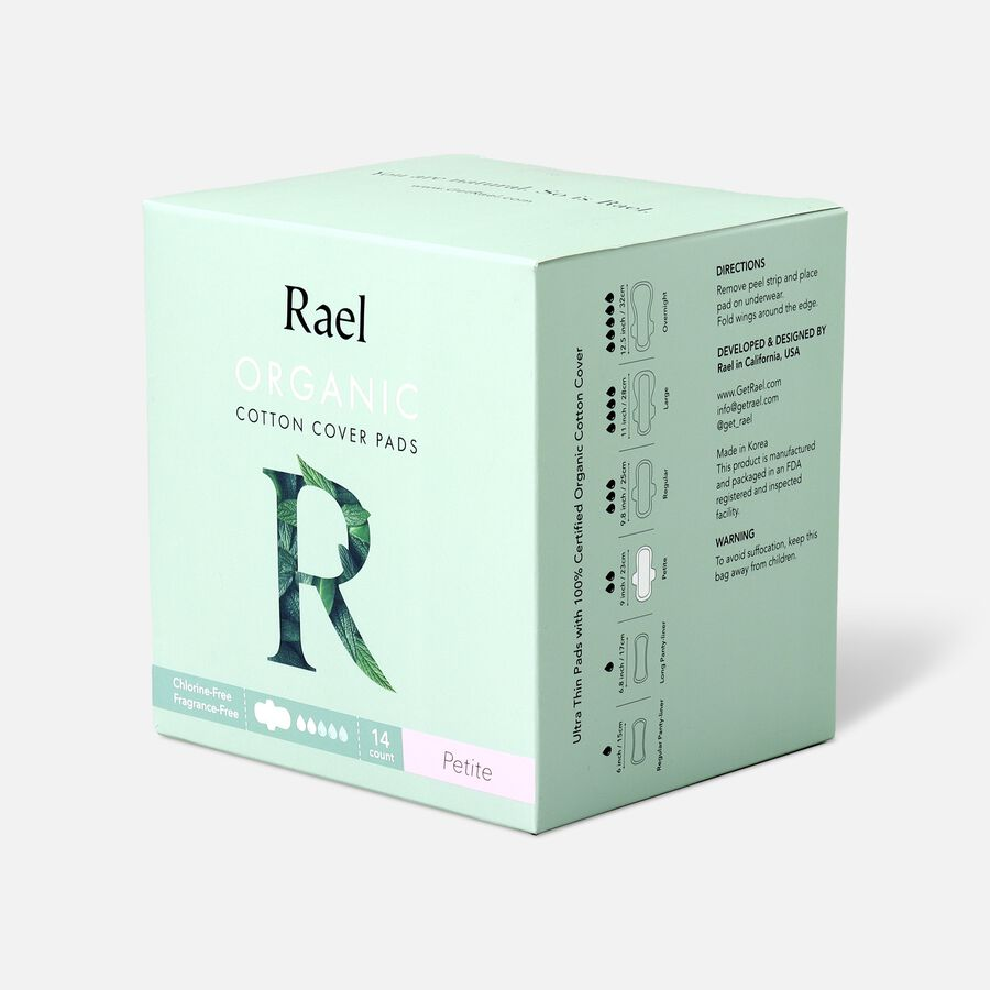 Rael Organic Cotton Ultra-Thin Pads, Petite Size, Light Absorbency, 14ct, , large image number 2