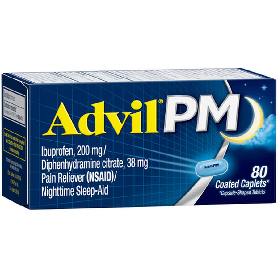 Advil Pain PM Reliever & Nighttime Sleep Aid Coated Caplets, 80 ct, , large image number 14