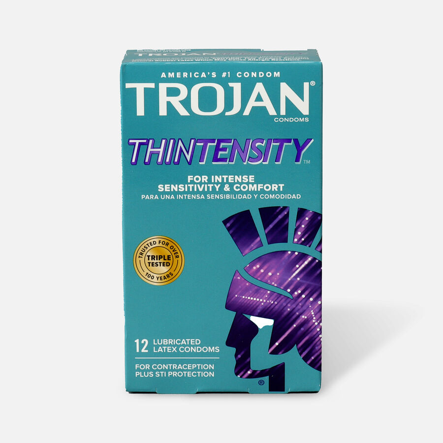 Trojan Thintensity UltraSmooth, Lubricated Latex Condoms, 12 ea, , large image number 0