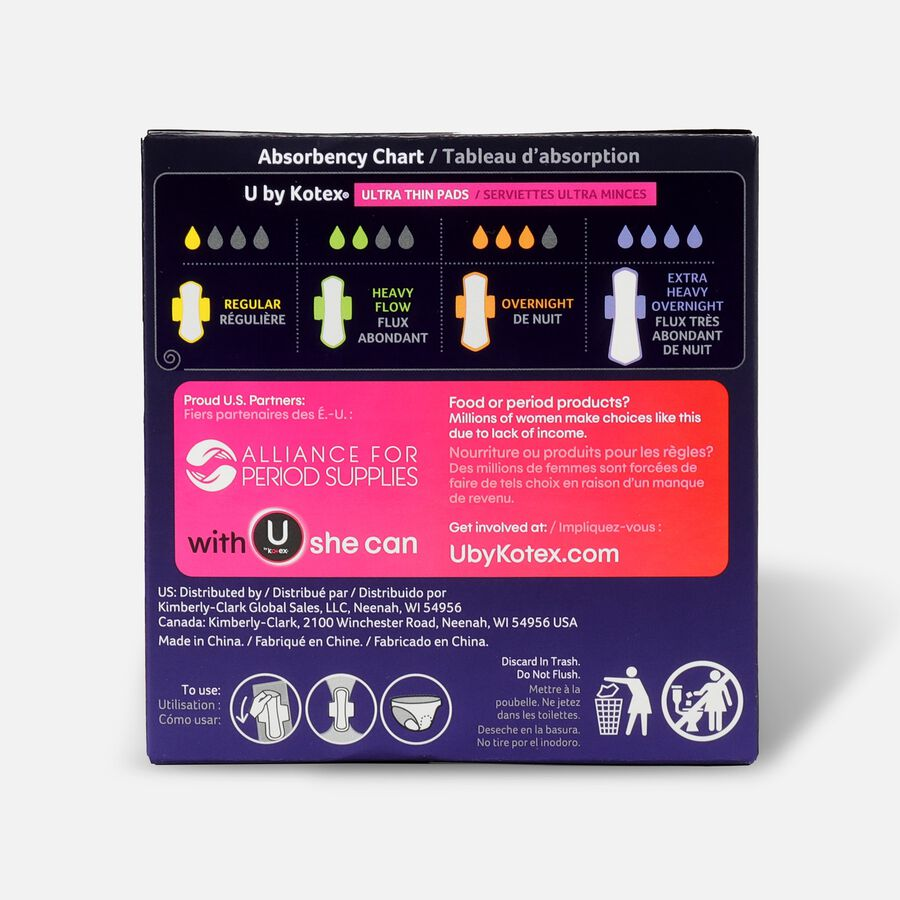 U by Kotex AllNighter Ultra Thin Overnight Pads with Wings, Extra Heavy Flow, Unscented, 12 Count, , large image number 1