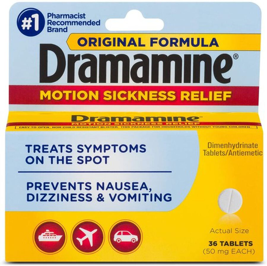 Dramamine Motion Sickness Relief Tablets, Original Formula, 36 ct, , large image number 0