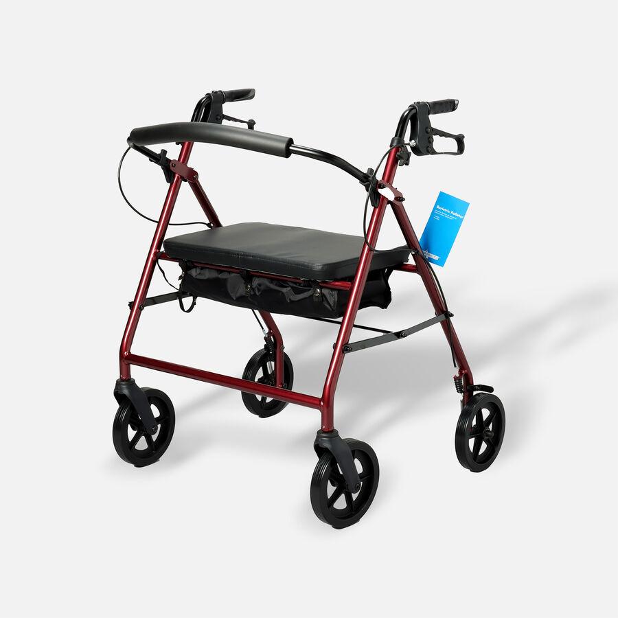 "ProBasics Aluminum Bariatric Rollator, 8"" Wheels, Burgundy, 400 lb Weight Capacity, , large image number 0"