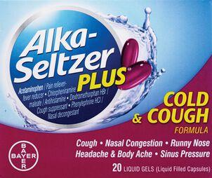 Alka-Seltzer Plus Cold and Cough Liquid Gels, 20ct