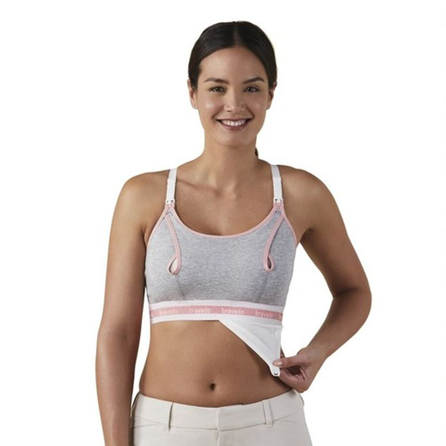 Clip and Pump Hands-Free Nursing Bra Accessory, Dove Heather, , large image number 5