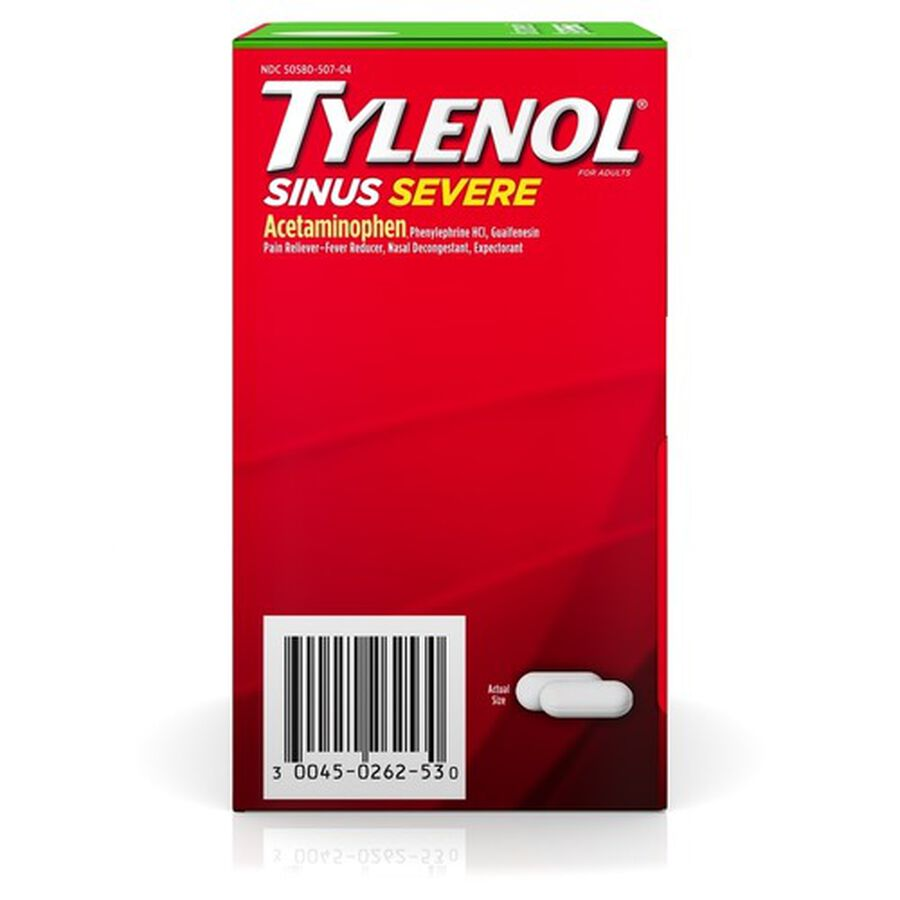 Tylenol Sinus Severe Non-Drowsy Daytime Caplets, 50 Packs of 2 ct, , large image number 1