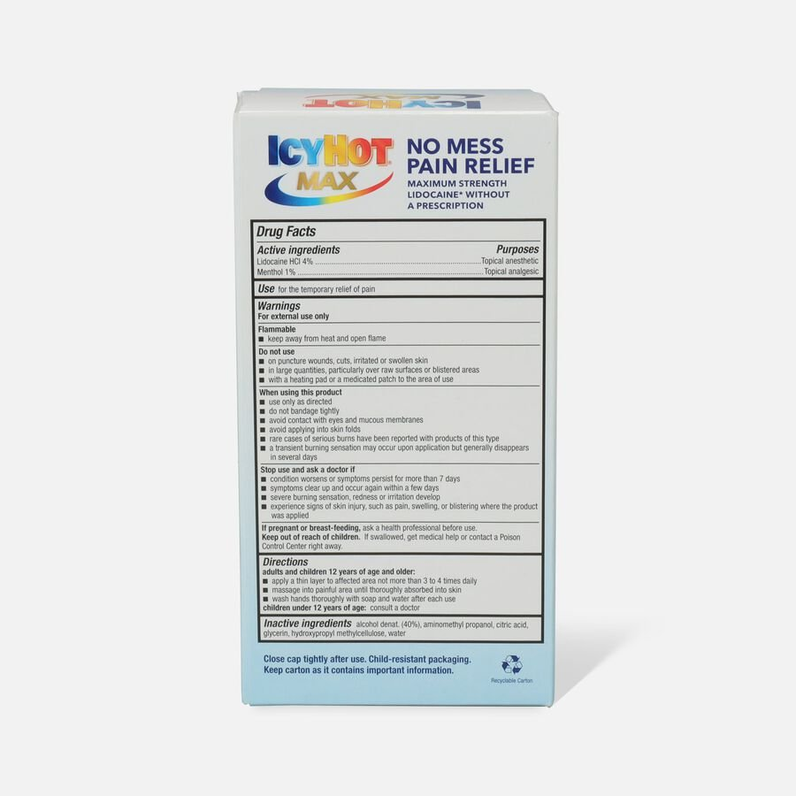 Icy Hot Max With Lidocaine + Menthol, Roll-On, 2.5 oz, , large image number 2