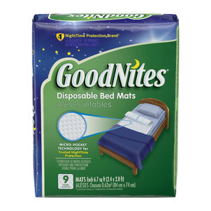 """GoodNites Disposable Bed Pads for Nighttime Bedwetting, Non-Slip Waterproof Mattress Pad, 30"""" x 36"""", 9 Count"""