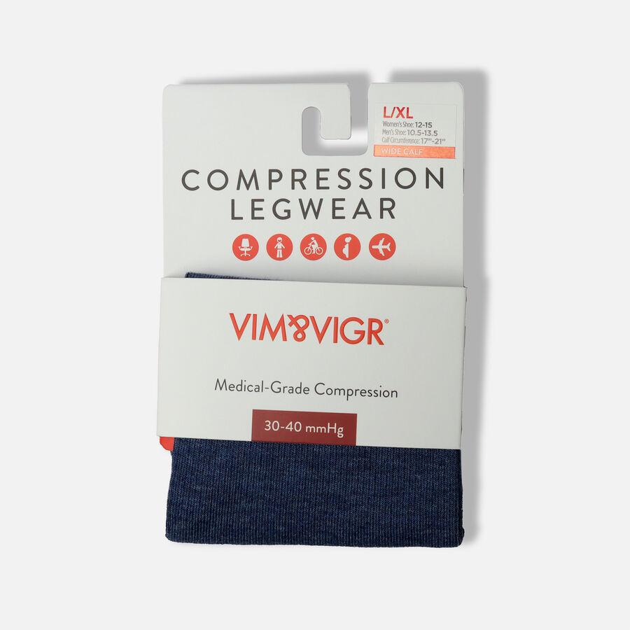 VIM & VIGR Cotton Compression Socks, Heathered Collection Navy, 30-40 mmHg, , large image number 4