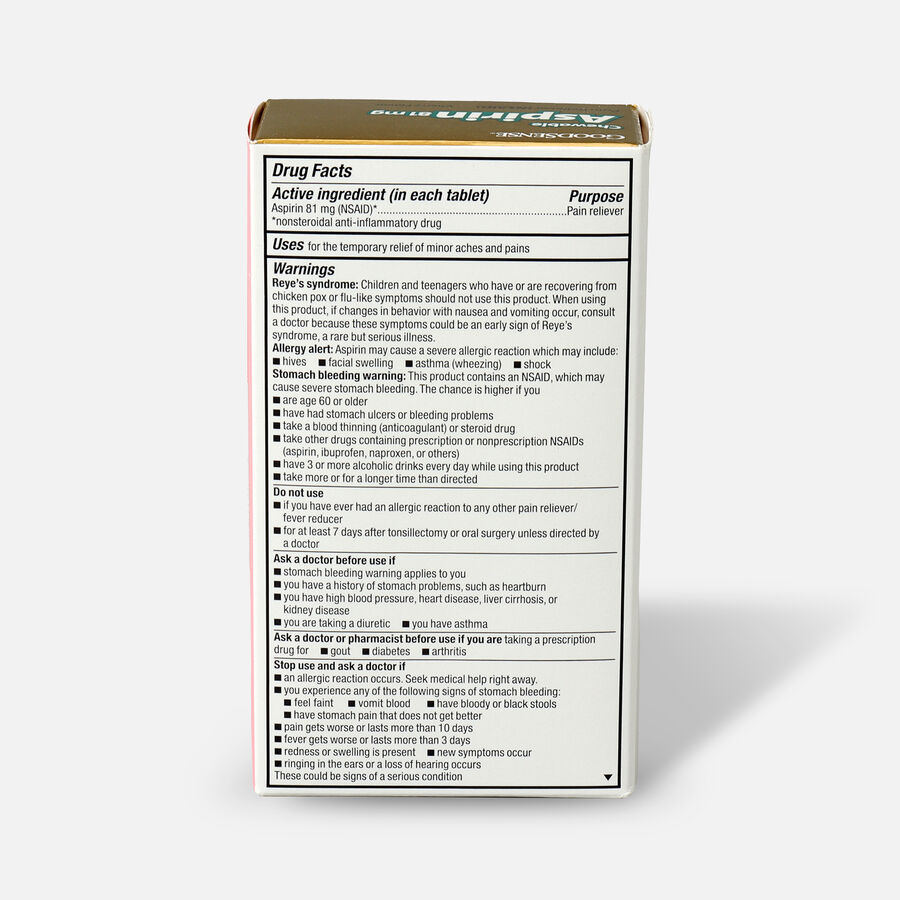GoodSense® Aspirin 81 mg Low Dose Chewable Tablets, 3/36 ct, , large image number 4